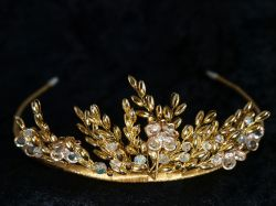 Gold Fern and Flower Tiara by Richard Designs
