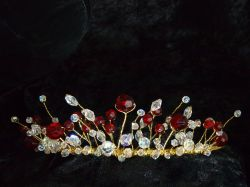 Gold and Red Bead Tiara